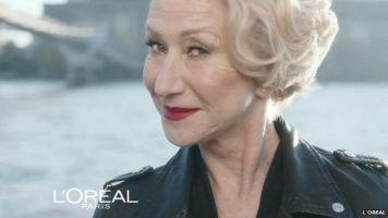 Again, problematic because it is an ad for anti-aging products but it is nice to see an older woman.
